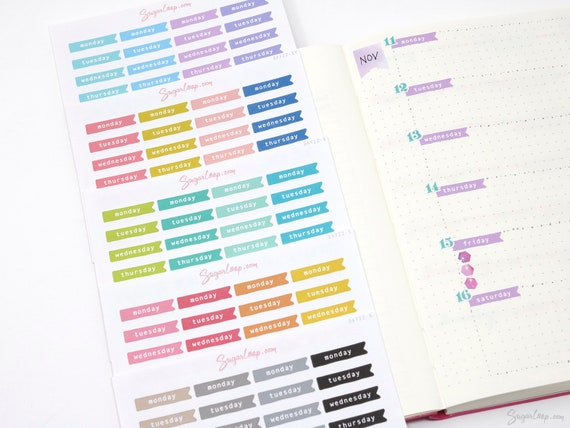 Days Of The Week Planner Stickers, 28 Week Days Stickers For Bullet Journal, Undated Planners, Journals, Calendars, Day22 by Etsy