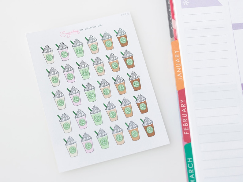 58c2378ec59 Iced Coffee Planner Stickers 30 Coffee Cup Stickers To Go