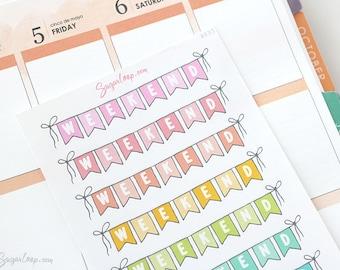 Cute Weekend Planner Stickers 10 Rainbow Pastel Bunting Flags Weekend Banner Sticker for Personal Planners Bullet Journal Hobonichi etc WKD3