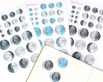 Moon Lunar Cycle Phases Whimsical Watercolor Planner Stickers DAT37
