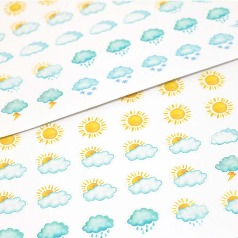 Watercolor Weather Sticker Kit Weather Planner Stickers image 0