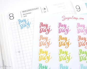 Payday Script Planner Stickers 28 Rainbow Hand Lettered Pay Day Stickers for Work Paycheck Reminder Money Income Tracker Budgeting, FIN6
