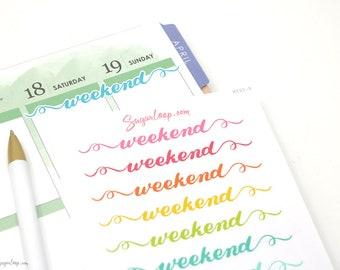 Weekend Planner Stickers, 12 Hand Lettered Stickers, Modern Calligraphy, Rainbow, Multicolor, Script, Bujo, Bullet Journal, Hobonichi, WKD5