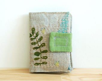 Linen embroidered wallet - botanical wallet - slow stitching wallet - money wallet, cards wallet