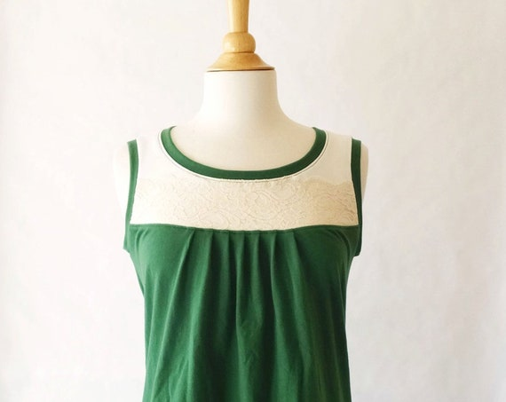 Womens Lace Yoke Tank Top Pleat front scoop neck blouse loose fit cotton jersey sleeveless shirt Emerald Green tank Cream lace Made to Order