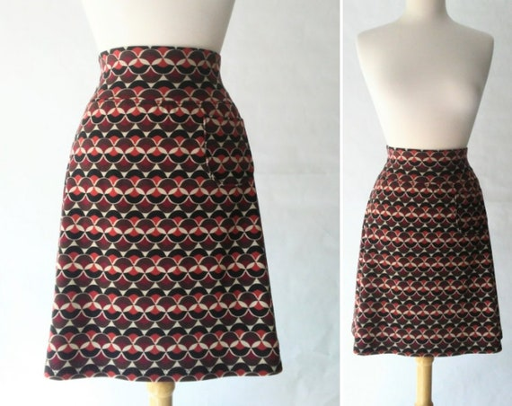 Size SMALL Brown Geometric print Aline Skirt women's Cotton knit  skirt yoga waistband knee length Skirt with a Pocket