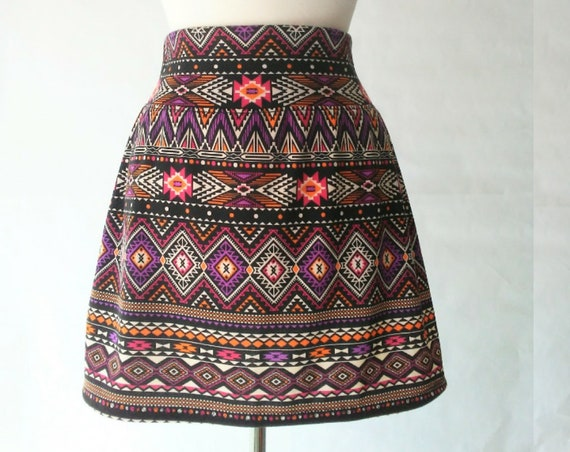 Size MEDIUM Black mini skirt Purple geometric print Aline Skirt women's yoga waistband Pull on style Skirt Ready to ship