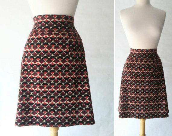 Size MEDIUM Brown Geometric print Aline Skirt women's Cotton knit  skirt yoga waistband knee length Skirt with a Pocket