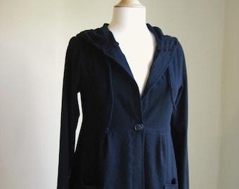 Cotton Hoodie Long Sleeve Hooded Cardigan women's sweater Lightweight jacket stretch knit Jersey sweatshirt button up shirt - Made to order