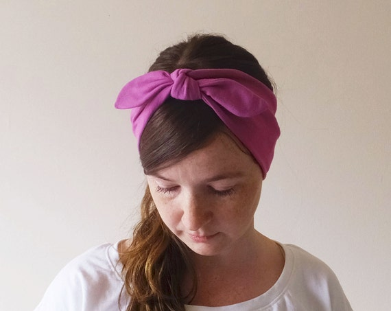 Cotton Headband, Choose a color Headband, Women's hair accessory, Fuchsia pink, retro bow style headband, Adult Size headband, gift for her