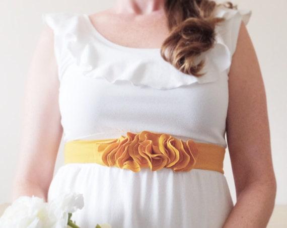 Cotton Sash, Flower Petal Belt, Dress Accessory, Bridesmaid accessories, fabric belt, stretch cotton jersey, Mustard yellow - Made to Order