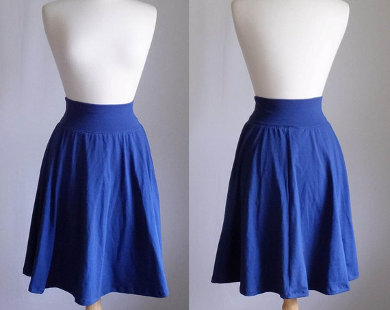Navy Market Skirt Full Aline Semi Circle Skirt Womens stretch Cotton Jersey Swing Skirt knee length twirl skirt custom - made to order