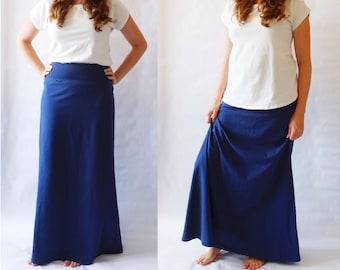 Navy Maxi Skirt womens Long skirt Cotton Jersey floor length Aline maxi skirt ankle length yoga waistband skirt Made to Order