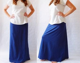 Maxi Skirt womens Long skirt floor length skirt Cotton Jersey Skirt Aline yoga waistband skirt modest womans clothing - Made to Order