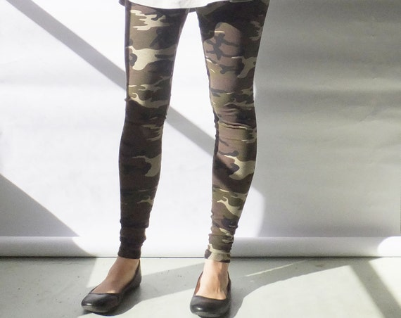 Size SMALL Camouflage Leggings Cotton long leggings jersey knit ankle length yoga printed legging women's activewear