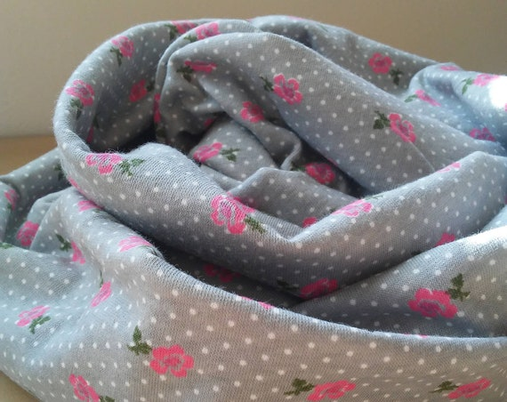 Rose polka dot print infinity scarf grey and white polka dot print scarf with pink roses cotton jersey gift for her pretty spring scarf