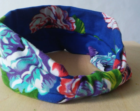 Royal Blue Headband Floral print Yoga Headband boho Cotton women's hair accessory headwrap workout headband jogging accessory gift for her