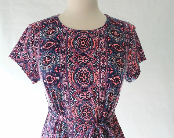 Size Medium Navy and Pink paisley print Swing Dress sleeveless tank dress modest shift dress summer knee length loose fit and flare