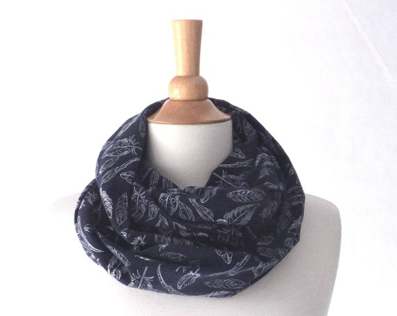 Navy Feather print infinity scarf, blue infinity scarf, navy scarf, holiday scarf, woodland print scarf, blue scarf, gift for her