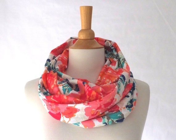 Floral Infinity Scarf, Red flower print, cotton jersey scarf, gift for her, pink infinity scarf, art gallery print scarf, gift for mom