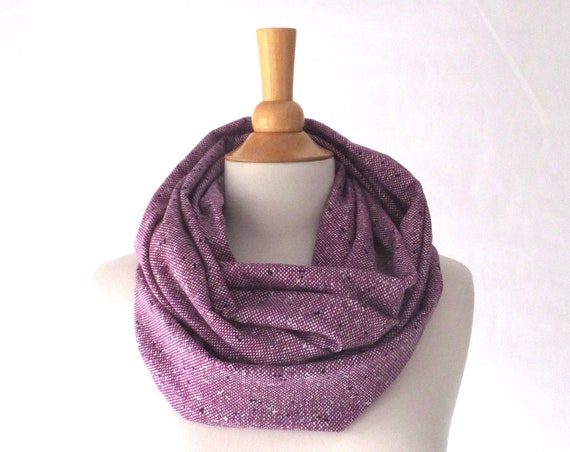 Plum tweed infinity scarf purple scarf fall fashion accessory gift for her stocking stuffer holiday present cotton jersey scarf loop scarf