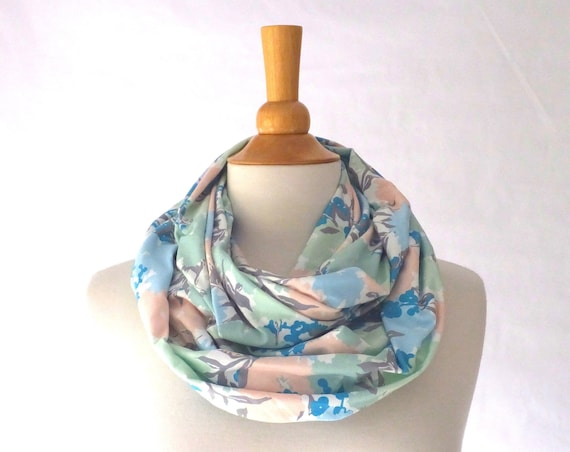blue floral infinity scarf, mint floral print, holiday scarf, gift for her, stocking stuffer, circle scarf, gift for mom, floral print scarf