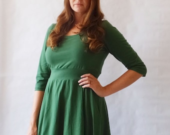 Holiday Dress Womens Green Party Dress Cotton jersey 3/4 sleeve swing dress Christmas dress fit and flare - Made to Order