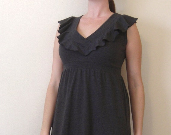 Womens Vneck Dress, Empire waist dress, sleeveless dress, Holiday Party Dress, Ruffle Collar knee length cocktail dress - made to order