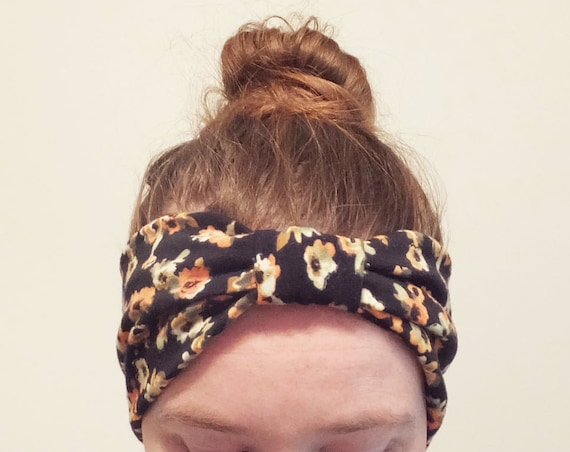 Black floral Print Headband, orange flower print, Cotton knit, women's hair accessory, Adult Size headband, workout headband, gift for her