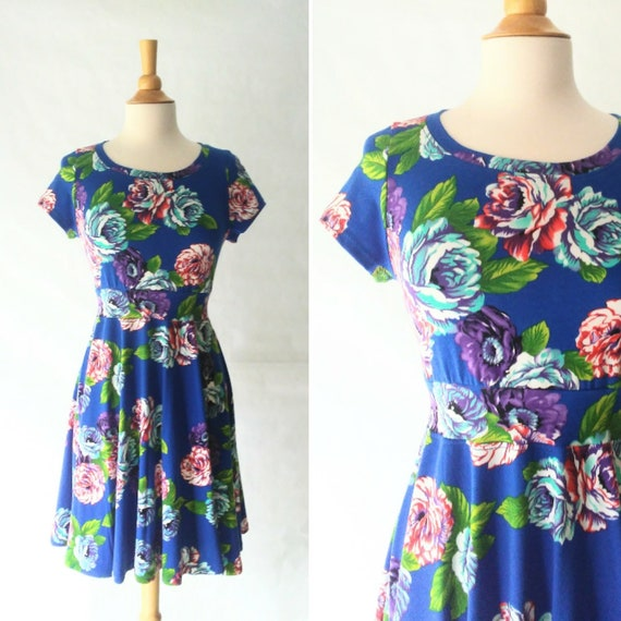 Size SMALL Royal Blue Floral print dress Womens Party Dress stretch Cotton short sleeve Full swing skirt fit and flare dress Ready to Ship