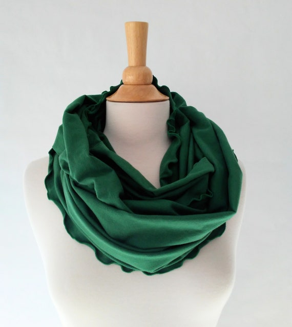 Emerald Green Infinity Scarf, Cotton jersey scarf, ruffle scarf, circle scarf, cowl scarf, gift for her, holiday scarf, stocking stuffer