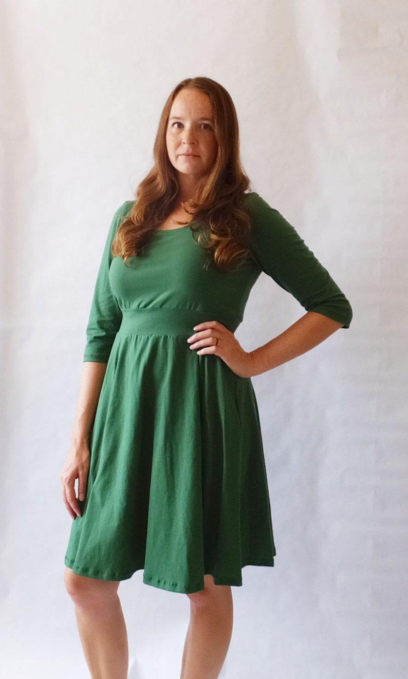 da3ace2c650765 Emerald Holiday Dress Womens Green Party Dress Cotton jersey