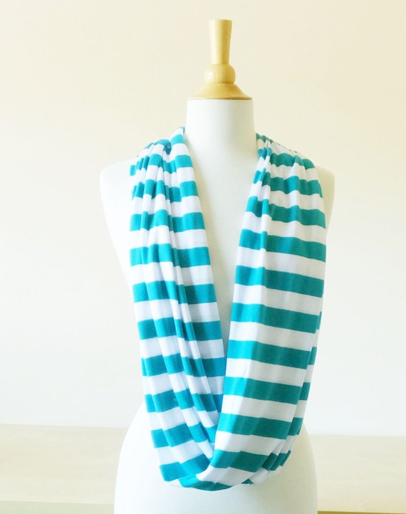 Teal blue stripe scarf white striped cotton Infinity Scarf circle scarf, white, cowl scarf, tube scarf winter accessories