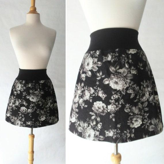 Size MEDIUM Black mini skirt Charcoal Floral print Aline Skirt women's denim skirt yoga waistband Pull on style Skirt Ready to ship
