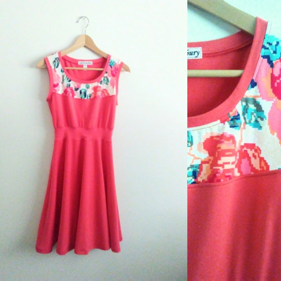 Size MEDIUM Coral Womens Dress pink Floral Yoke stretch Cotton sleeveless Full swing skirt spring party dress fit and flare
