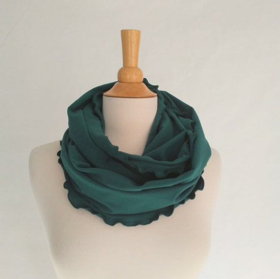 Spruce Green Infinity Scarf, Cotton jersey scarf, ruffle scarf, circle scarf, cowl scarf, gift for her, holiday scarf, stocking stuffer