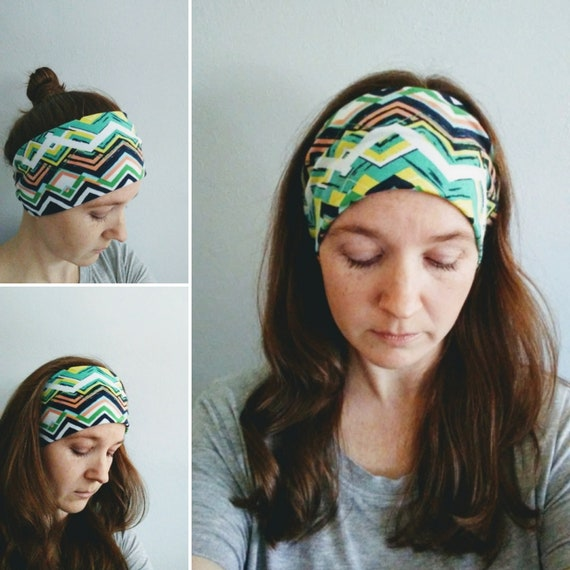 Chevron Print Headband Navy Yoga Headband Green women's hair accessory White headwrap workout headband jogging accessory gift for her