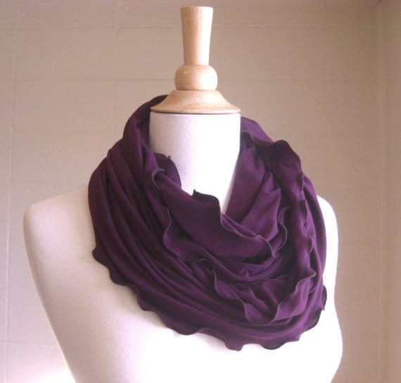 Plum Infinity Scarf Purple ruffle scarf, circle scarf, loop scarf gift for teacher gift for her jersey knit stocking stuffer ready to ship