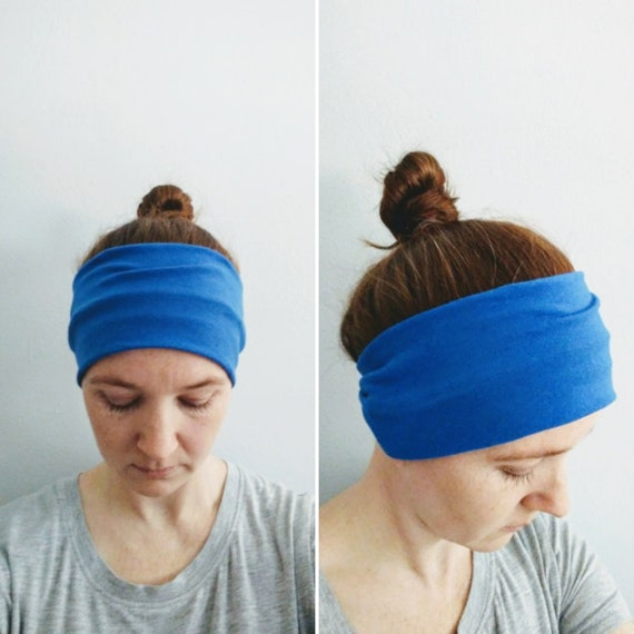 Royal Blue Headband Yoga Headband boho Cotton women's hair accessory headwrap workout headband jogging accessory gift for her
