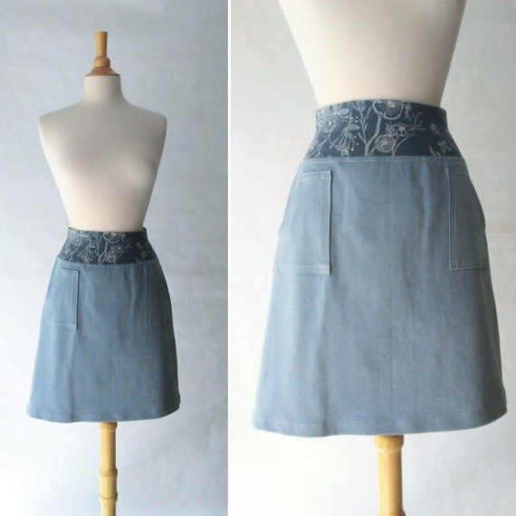 Womens Denim Skirt Sky Blue Skirt Floral print Stretch cotton Architect skirt aline pocket skirt blue jean skirt knee length womens clothing