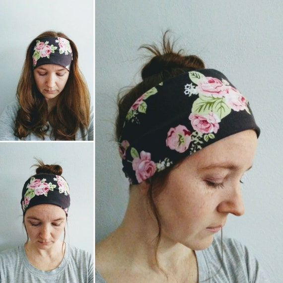Pink Rose Print Headband, Adult Size headband, Grey floral headband, Yoga band, Cotton knit hair accessory, Women's headband, gift for her