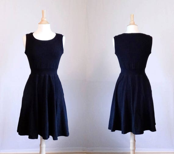 Womens Party Dress stretch Cotton sleeveless Full swing skirt holiday party dress little black dress LBD fit and flare dress Made to Order