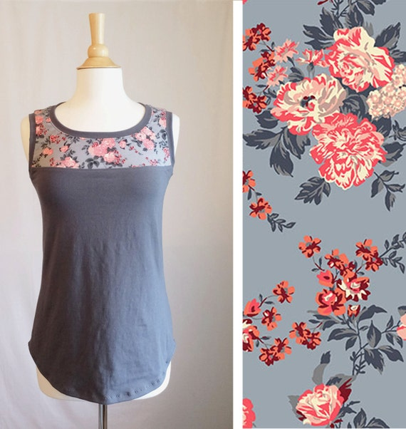 Women's Tank Top Slate Grey Rose Floral Yoke scoop neck blouse loose fit cotton jersey sleeveless shirt womens summer top - Made to Order