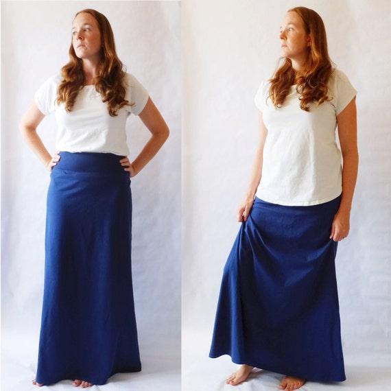Navy Maxi Skirt womens Long skirt Cotton Jersey floor length Aline maxi skirt ankle length yoga waistband maternity skirt Made to Order