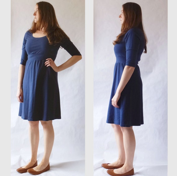Cotton Day Dress, 3/4 long Sleeve, Empire waist dress, knee length, scoop neck, Women's navy blue dress, Casual knit dress - Made to Order