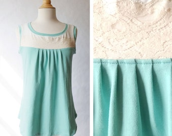 Women's Lace Yoke Tank Top Pleat front scoop neck blouse loose fit cotton jersey sleeveless shirt womens summer top Cream - Made to Order