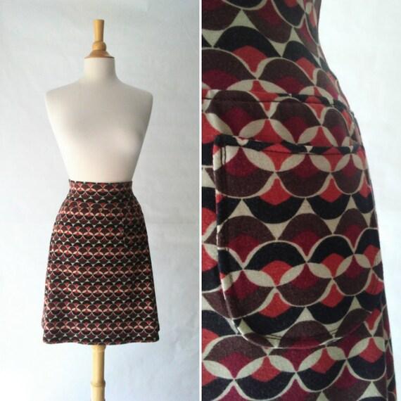 Size SMALL Brown Geometric print Aline Skirt women's Cotton knit  skirt yoga waistband knee length Skirt with a Pocket