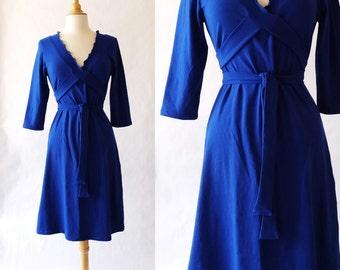 Womens Dress 3/4 Sleeve cotton jersey Dress Vneck Ruffled Wrap knee length dress tie wrap around dress stretch cotton dress - Made to Order