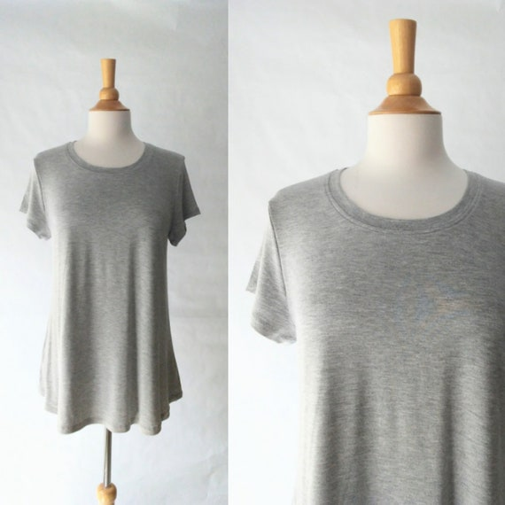 Size LARGE Grey Basic tee Women's swing top short sleeve blouse loose fit basic jersey shirt womens top - Ready to ship