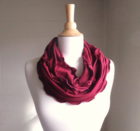 Cranberry Infinity Scarf, Burgundy scarf, Lightweight Rayon scarf, red scarf jersey knit circle scarf, cowl, ruffle scarf - ready to ship